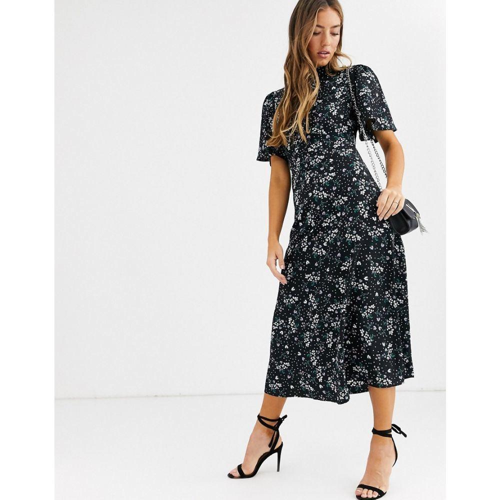 ファッションユニオン Fashion Union レディース ワンピース ワンピース・ドレス【high neck midaxi tea dress with flutter sleeve】Black ditsy floral