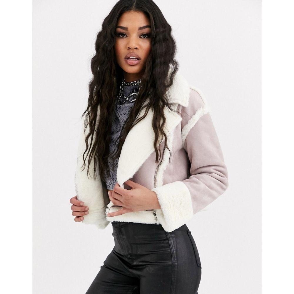 ミスガイデッド Missguided レディース レザージャケット アウター【cropped jacket with borg trims in lilac faux suede】Lilac
