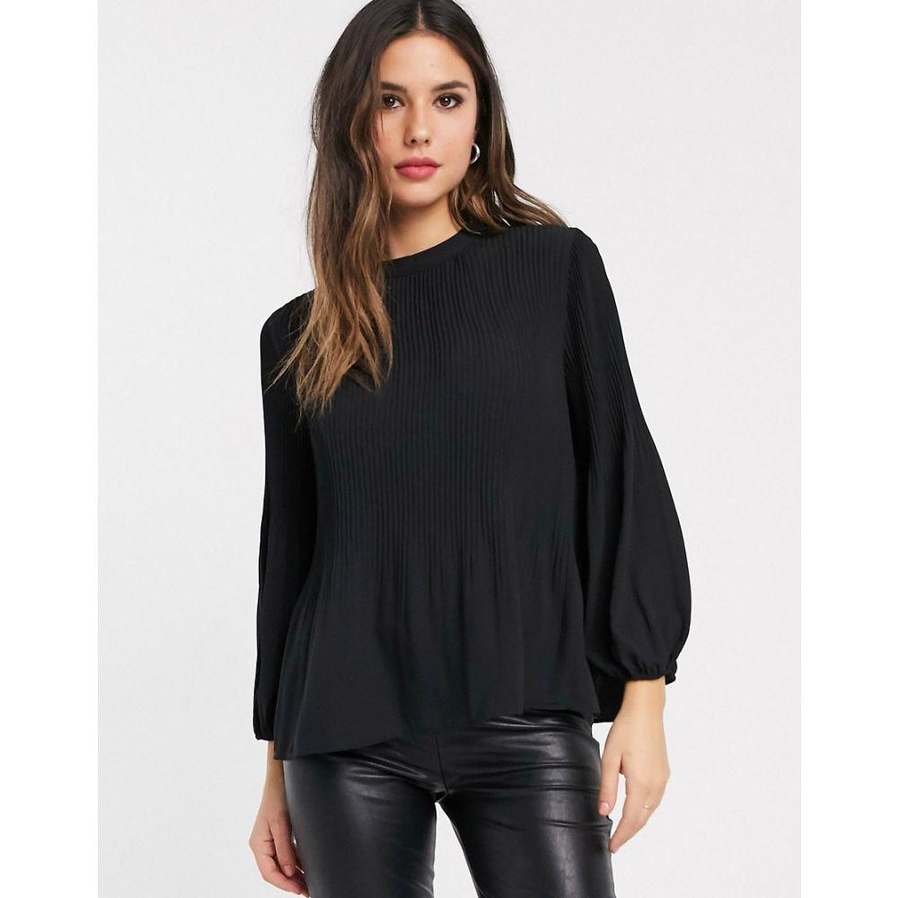 ウェアハウス Warehouse レディース ブラウス・シャツ トップス【blouse with pleat detail in black】Black