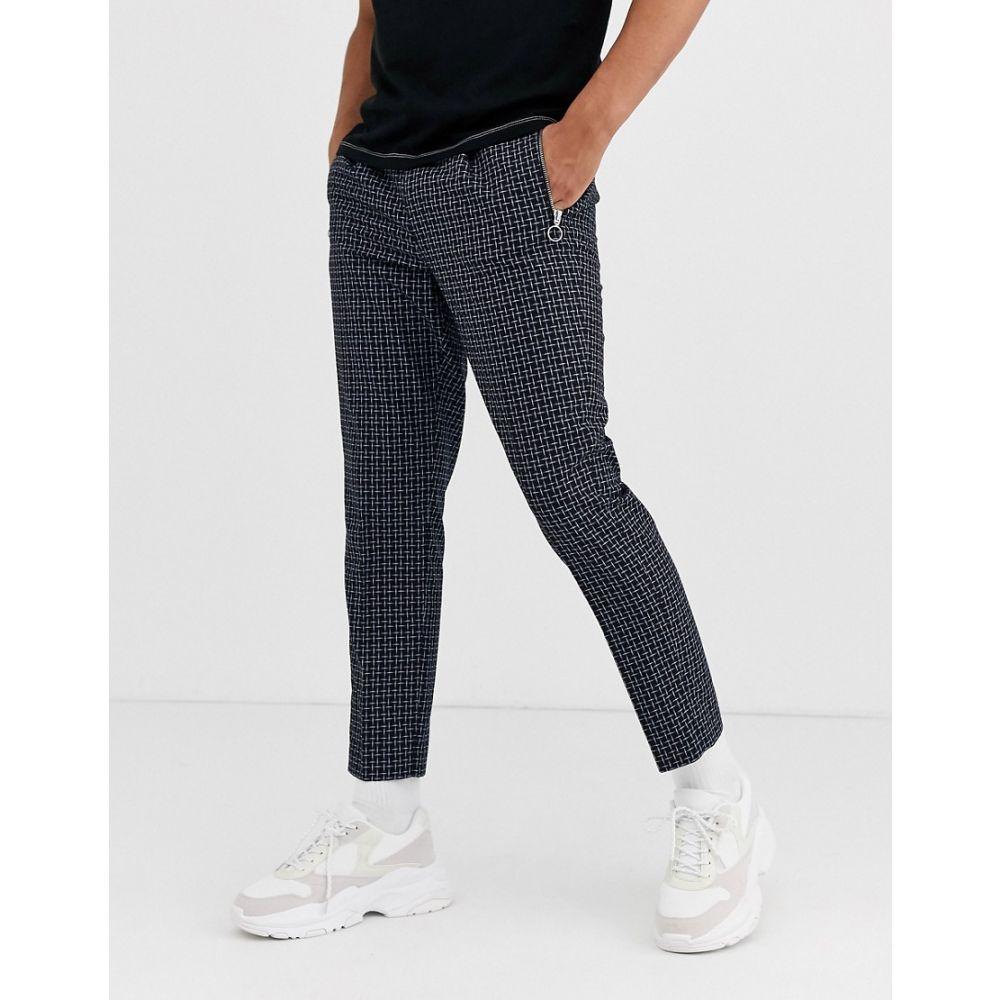 エイソス ASOS DESIGN メンズ クロップド ボトムス・パンツ【slim crop smart trousers in black micro check with zip pockets】Black