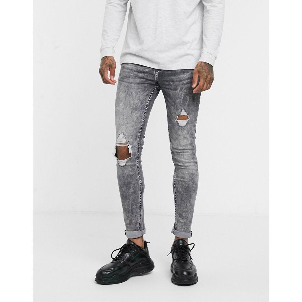 ニュールック New Look メンズ ジーンズ・デニム ボトムス・パンツ【super skinny jeans in grey acid wash】Light grey