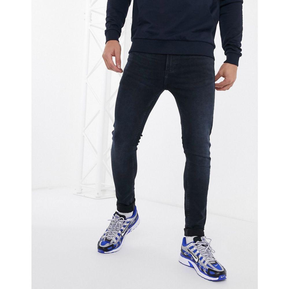 トップマン Topman メンズ ジーンズ・デニム ボトムス・パンツ【spray on jeans in dark blue wash】Blue