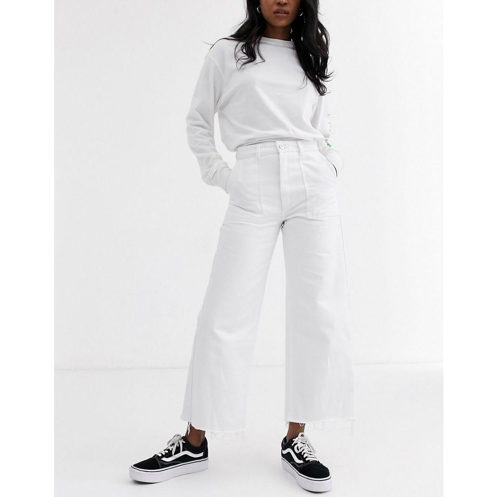 エーブランド Abrand Denim レディース ジーンズ・デニム ワイドパンツ ボトムス・パンツ【Abrand Street wide leg jeans with raw hem】White jive