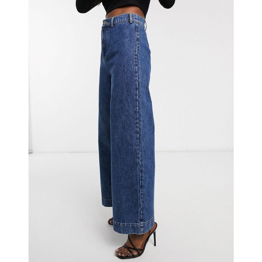 エイソス ASOS DESIGN レディース ジーンズ・デニム ワイドパンツ ボトムス・パンツ【High rise 'easy' wide leg jeans in vintage mid wash】Mid blue