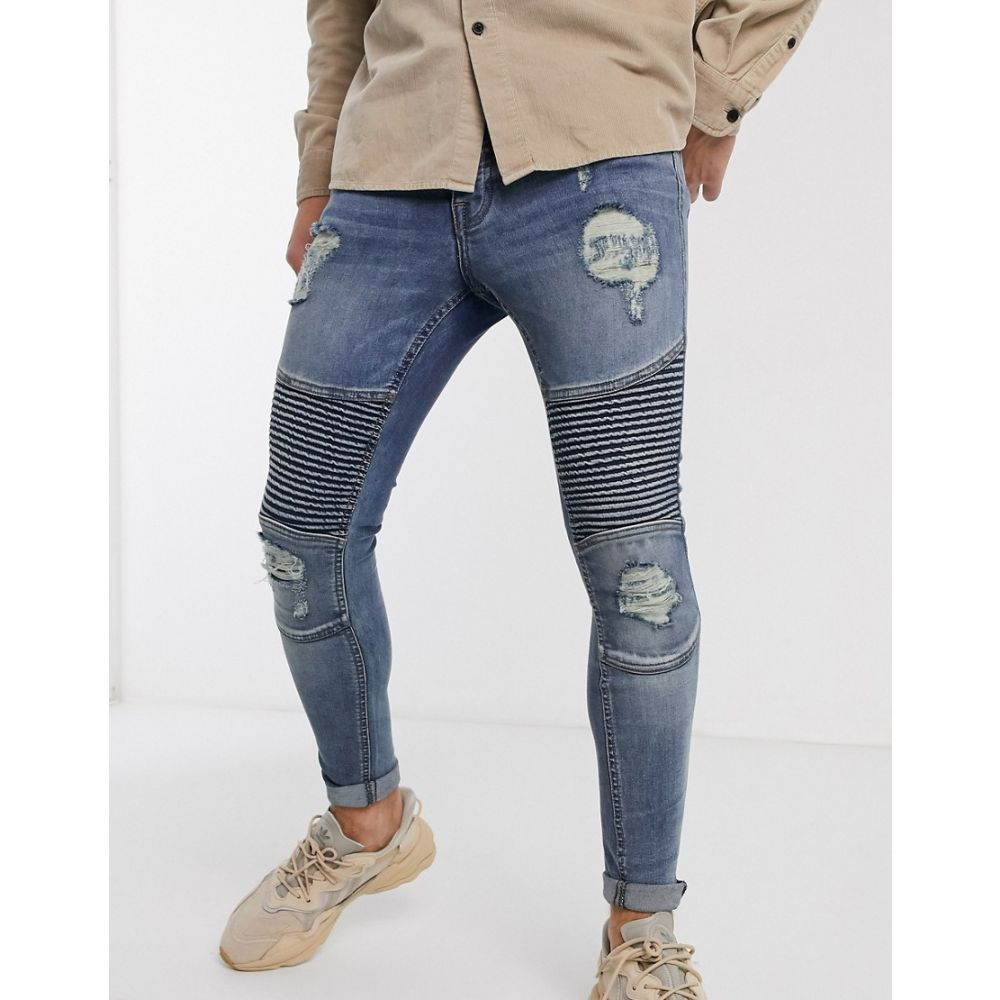 ブーフー boohooMAN メンズ ジーンズ・デニム ボトムス・パンツ【super skinny distressed biker jeans in light wash blue】Denim light blue was