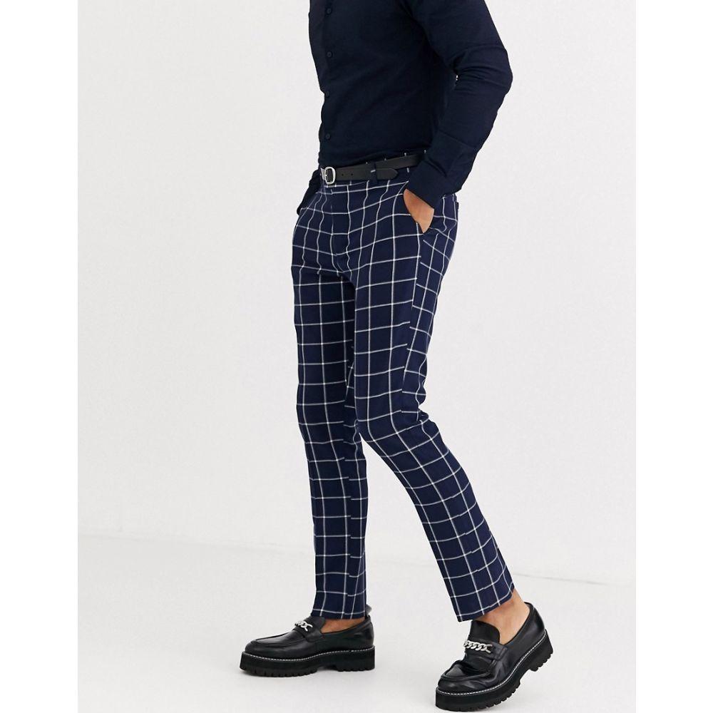 ブーフー boohooMAN メンズ スキニー・スリム ボトムス・パンツ【large scale windowpane check skinny trouser in blue】Blue
