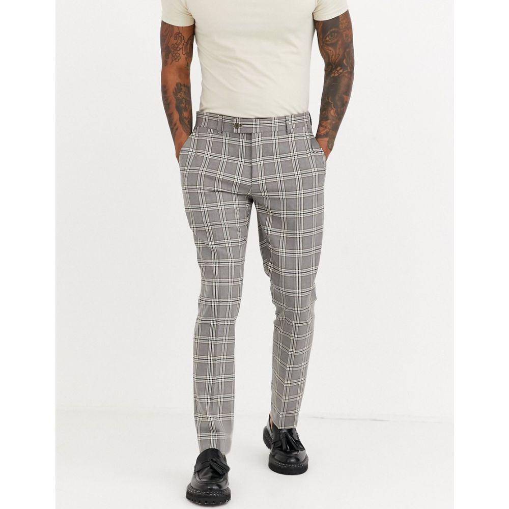 ブーフー boohooMAN メンズ スラックス ボトムス・パンツ【heritage check skinny fit suit trouser in brown】Brown