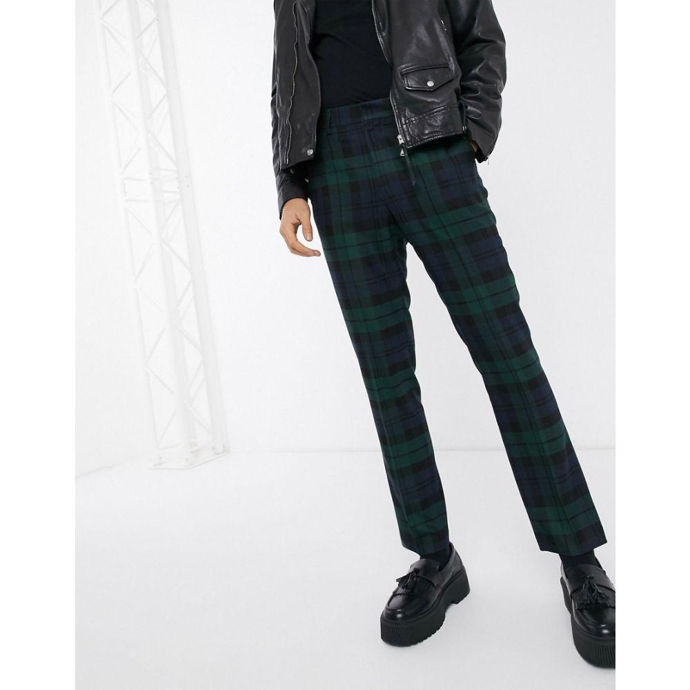 ハートアンドダガー Heart & Dagger メンズ スラックス ボトムス・パンツ【super skinny trouser in blackwatch check】Green