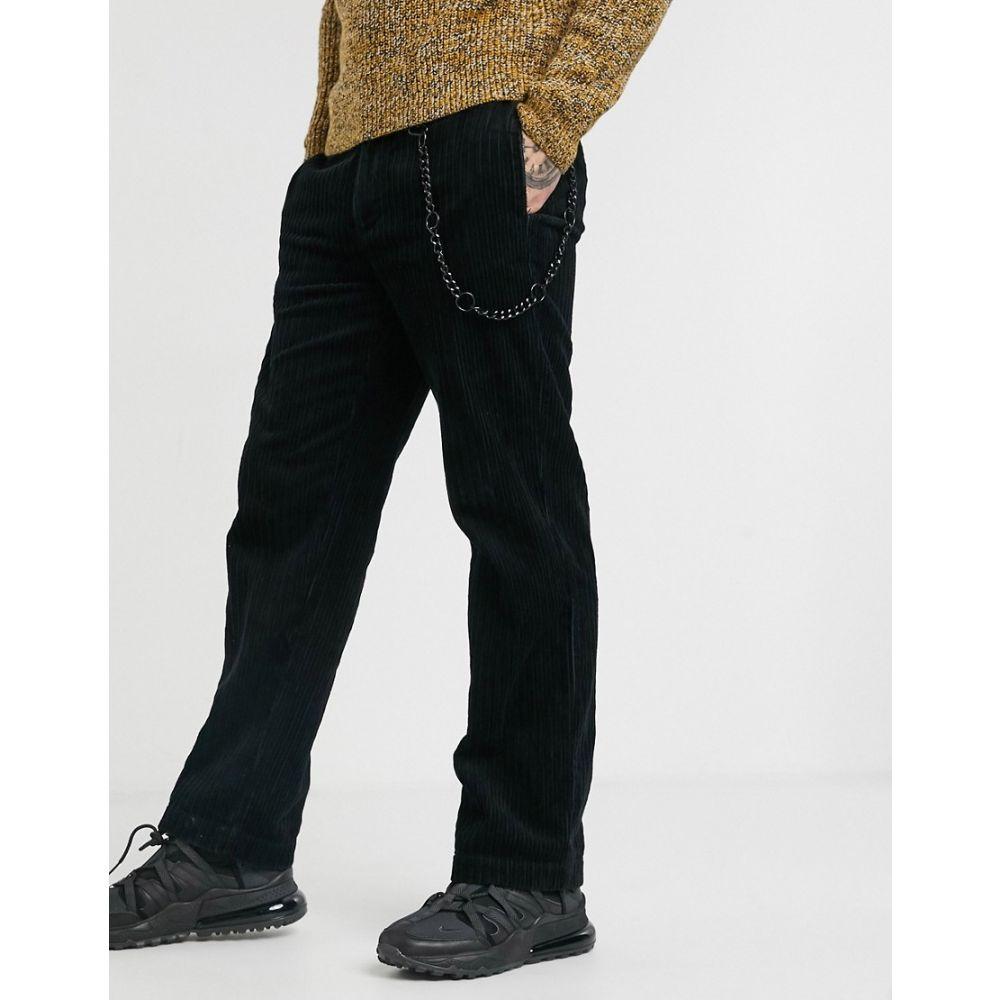 トップマン Topman メンズ ボトムス・パンツ ワイドパンツ【wide leg cord trousers in black】Black