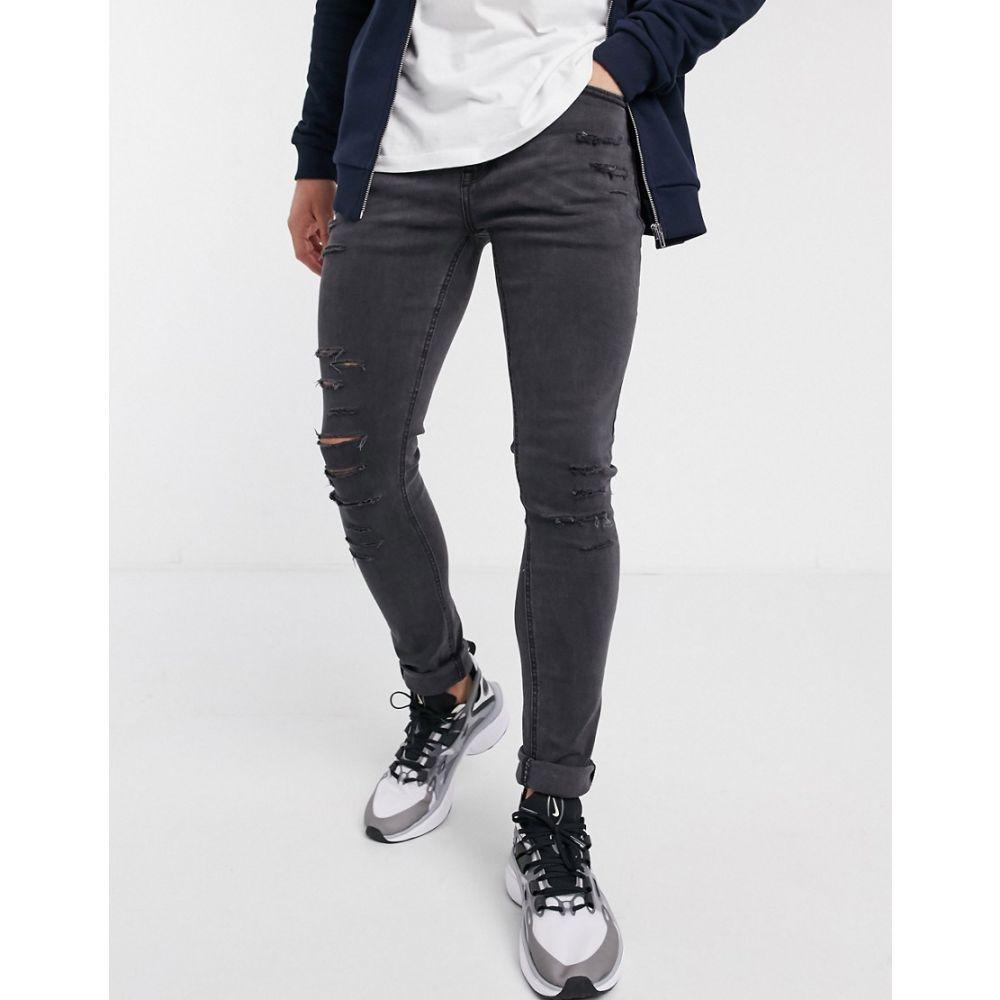 ニュールック New Look メンズ ジーンズ・デニム ボトムス・パンツ【distressed skinny jeans in dark grey】Dark grey