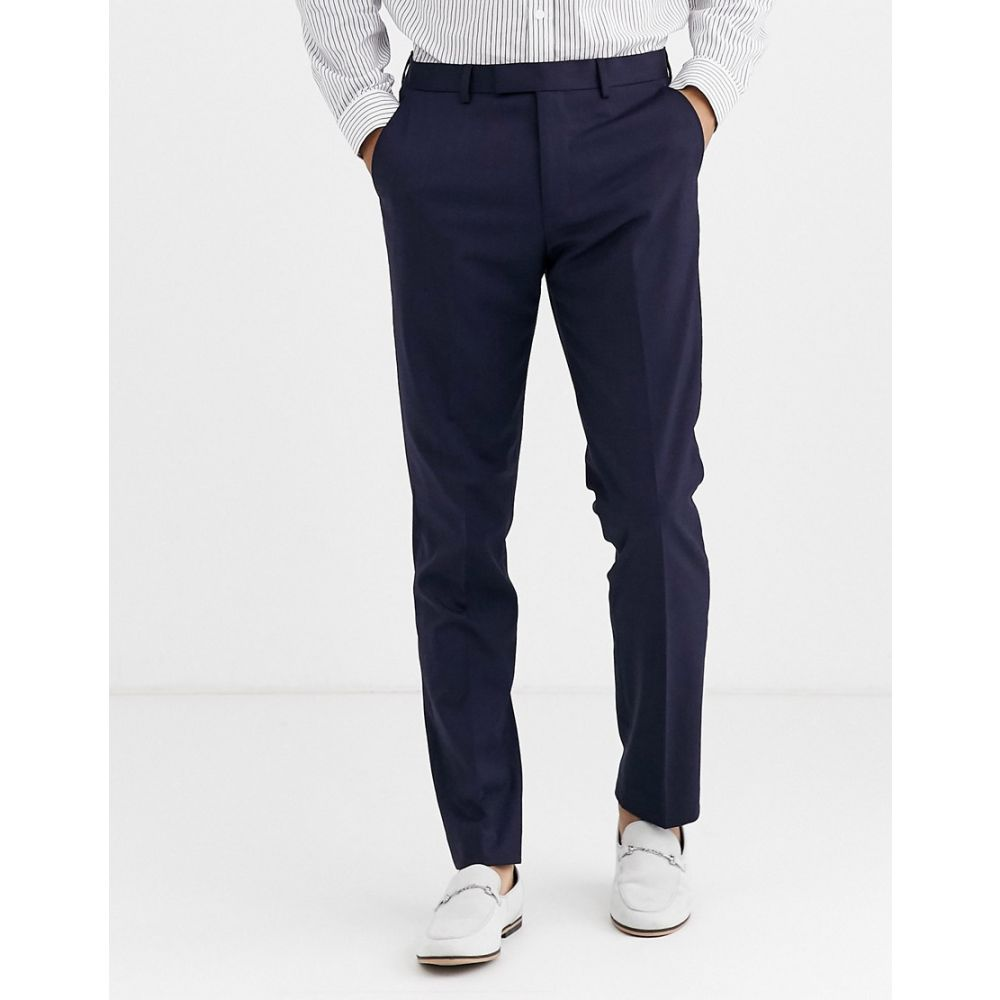 ハリー ブラウン Harry Brown メンズ スラックス ボトムス・パンツ【slim 50% wool split lapel navy dinner suit trousers】Navy