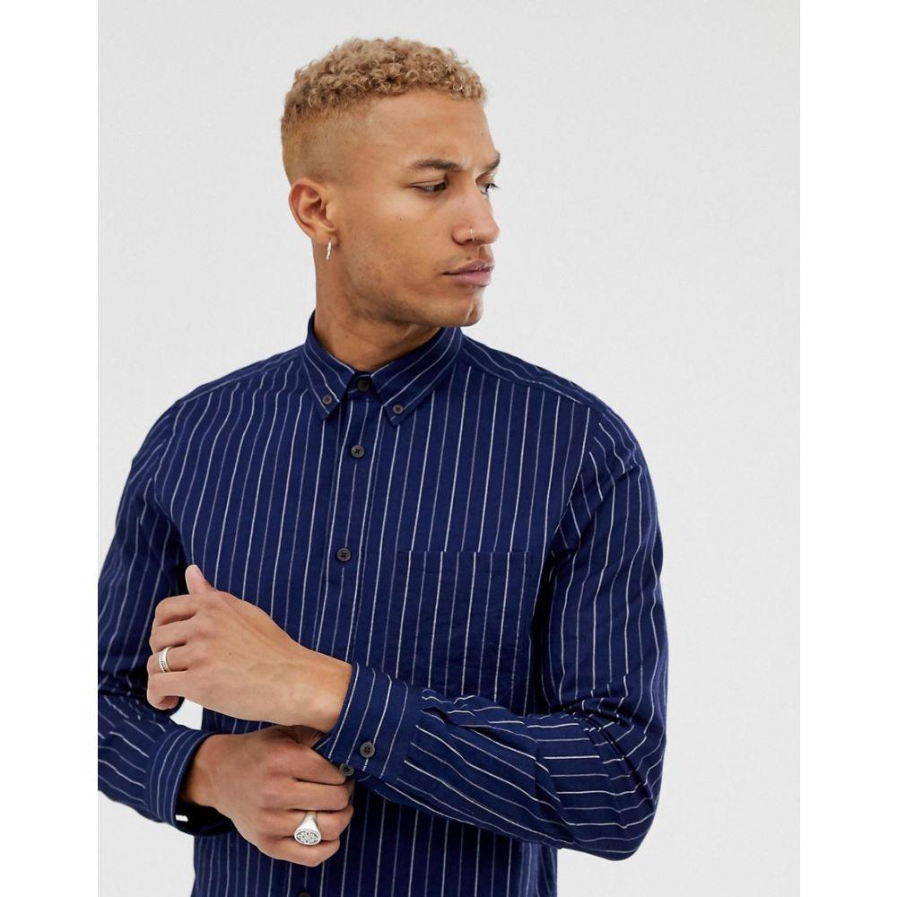 ヒューゴ ボス HUGO メンズ シャツ トップス【Ermann pin stripe long sleeve shirt in navy】Navy