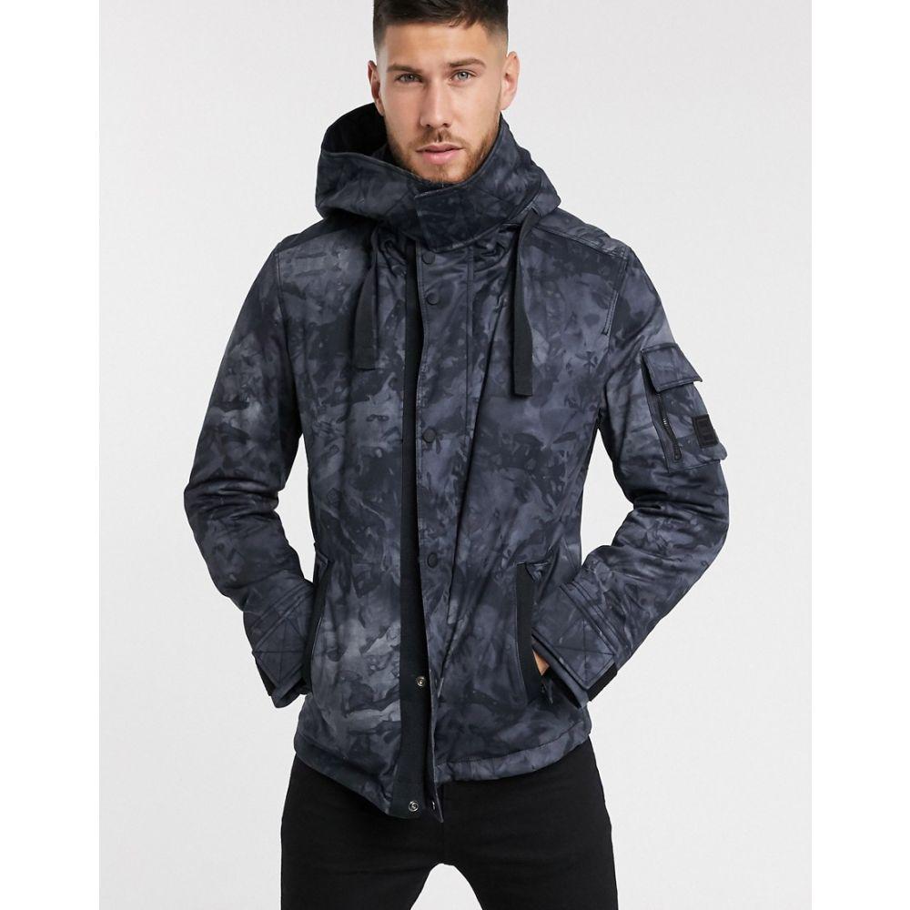 ヒューゴ ボス BOSS メンズ ジャケット フード アウター【Orbir primaloft hooded tonal camo jacket in black】Black