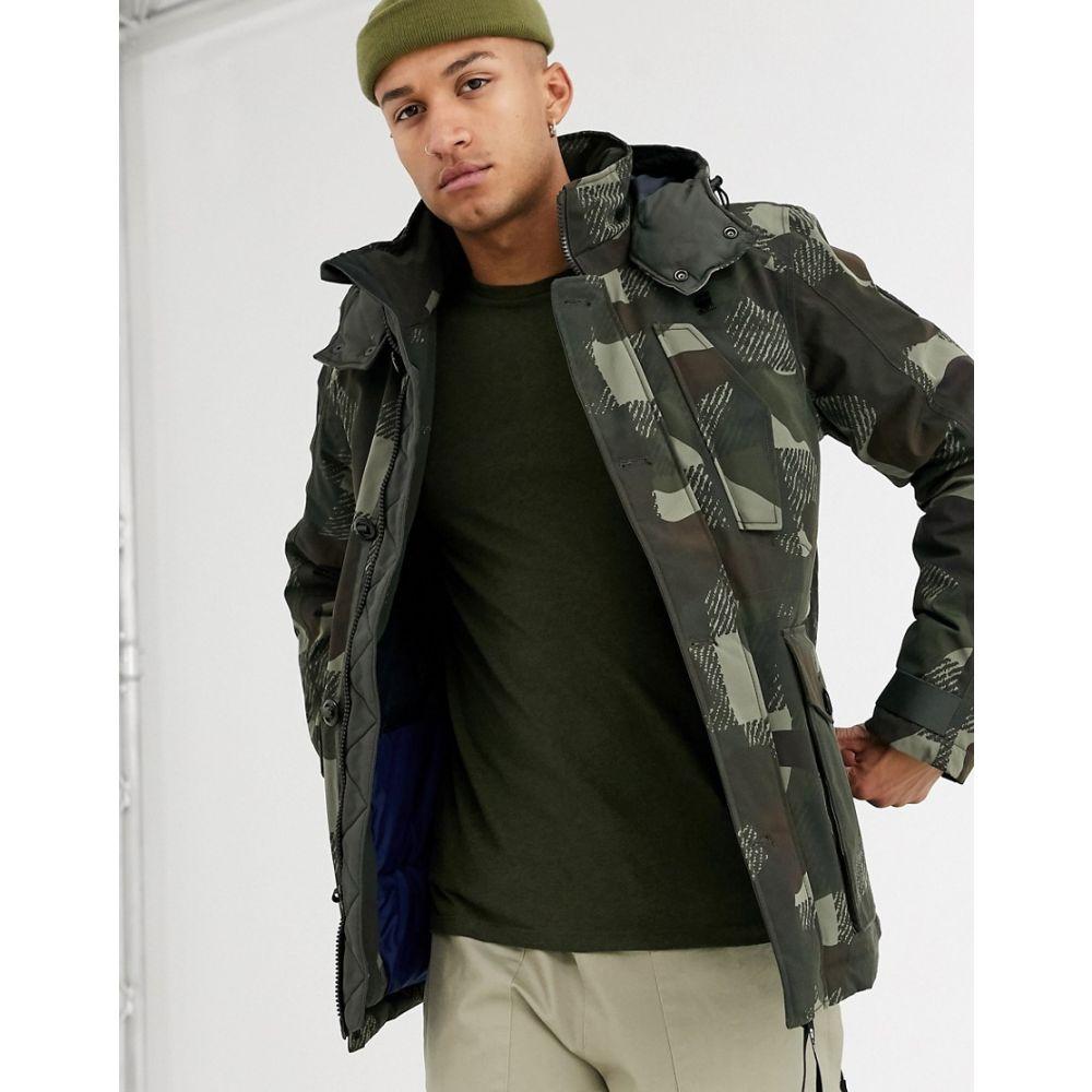 ジースター ロゥ G-Star メンズ ダウン・中綿ジャケット アウター【Vodan camo print jacket with padded hood in green】Green