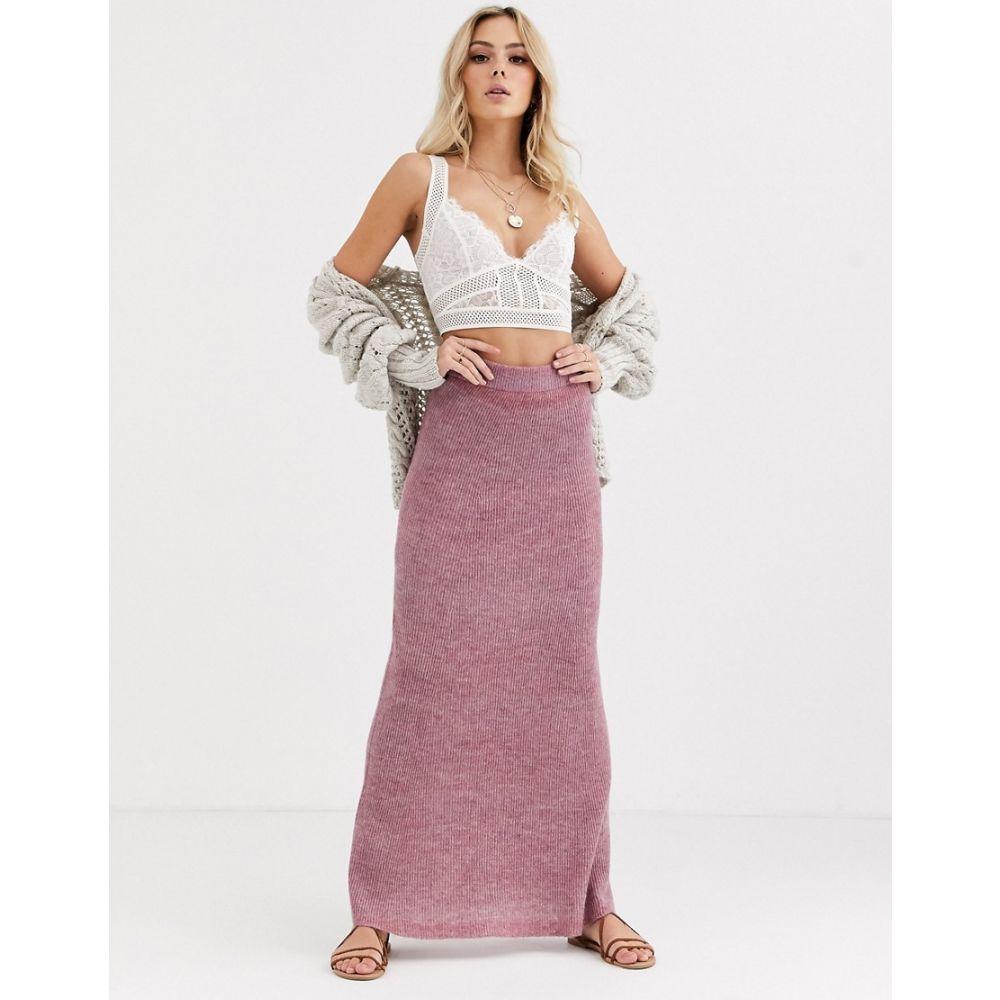 フリーピープル Free People レディース ひざ丈スカート スカート【drag me out knitted midi skirt】Pink