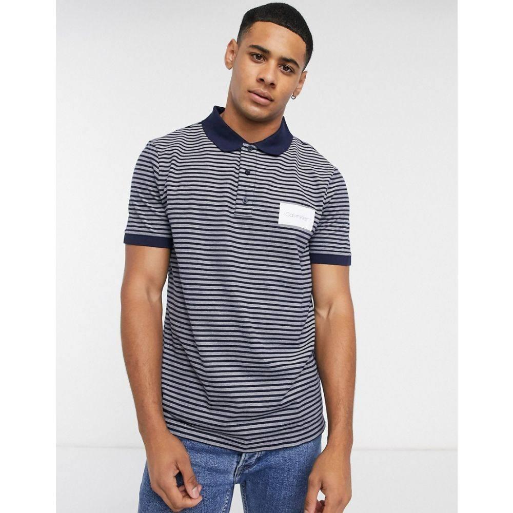 カルバンクライン Calvin Klein メンズ ポロシャツ トップス【pique oxford stripe polo shirt】Navy