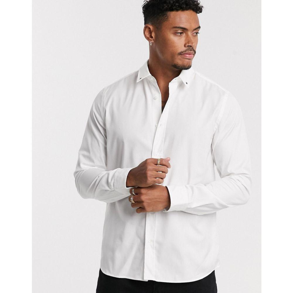 ヒューゴ ボス HUGO メンズ シャツ トップス【Emero star tip collar poplin shirt in white】White