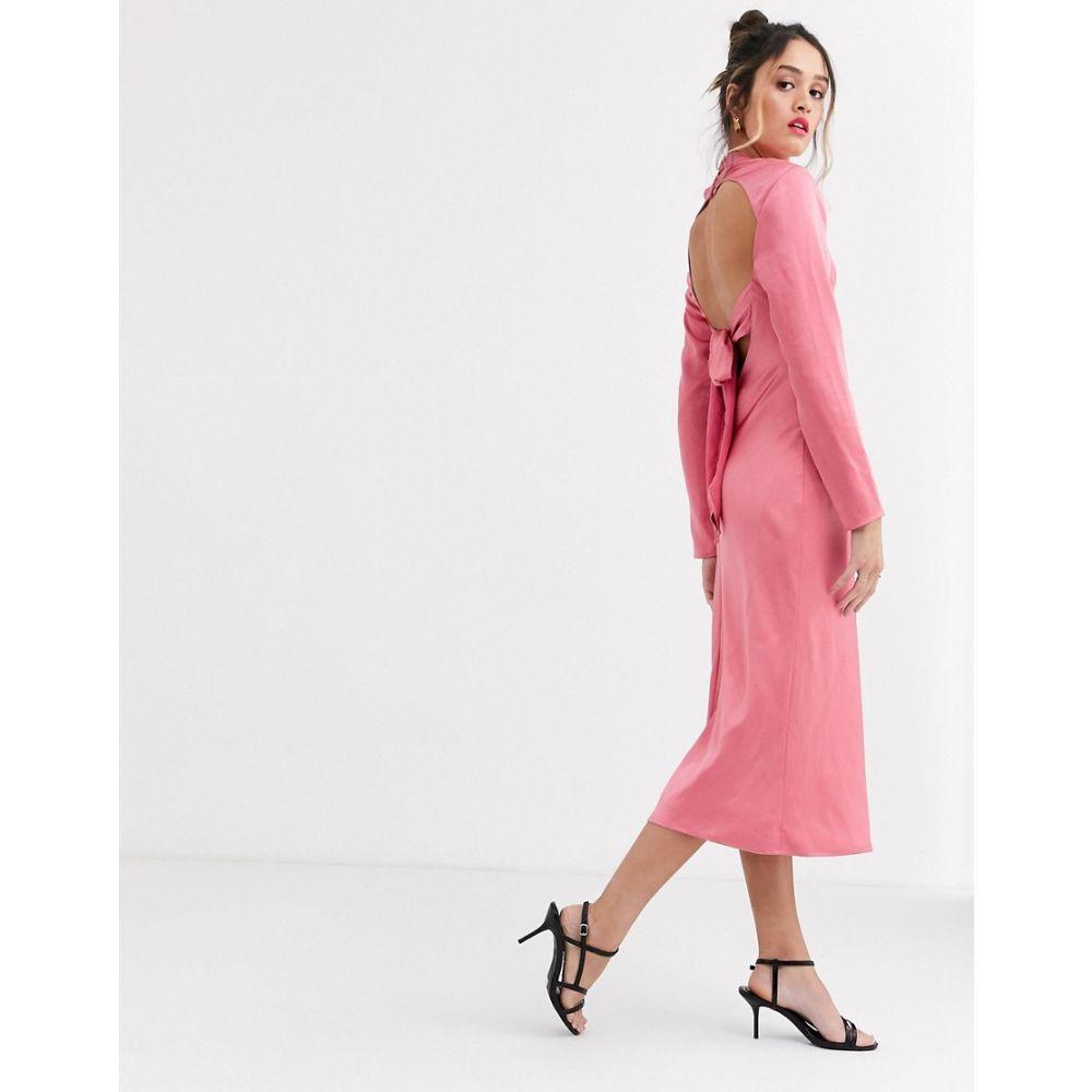 カメオ C/meo Collective レディース ワンピース ミドル丈 ワンピース・ドレス【C/Meo sqaure neck satin midi dress in pink】Pink