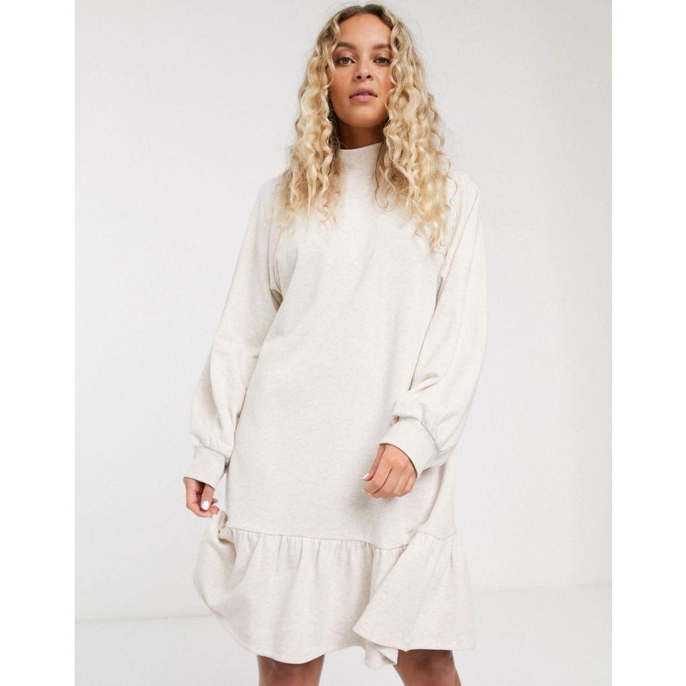 モンキー Monki レディース ワンピース ワンピース・ドレス【organic cotton jersey smock dress in beige】Beige