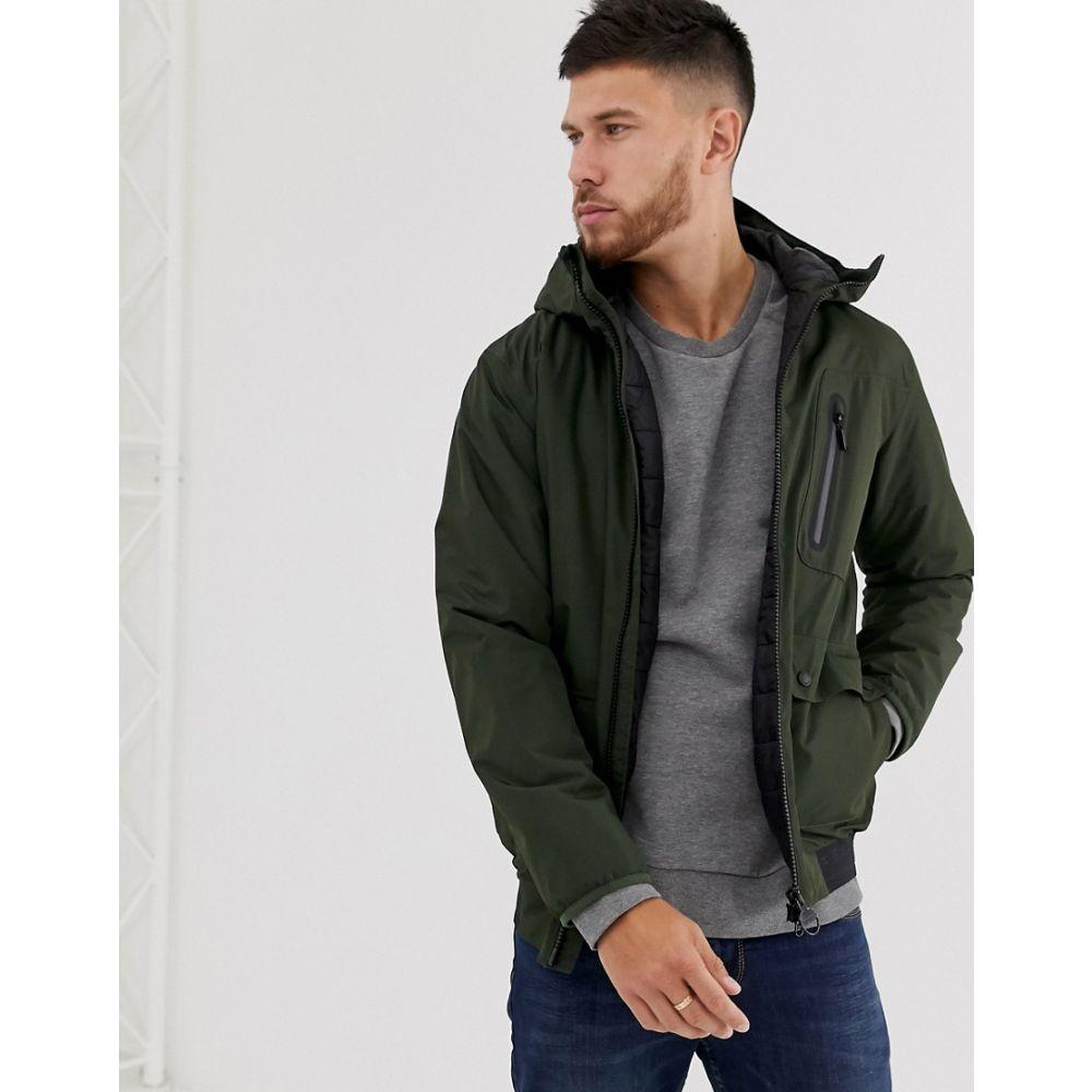 バブアー Barbour International メンズ レインコート アウター【Lane waterproof jacket with back logo waistband taping in khaki】Green