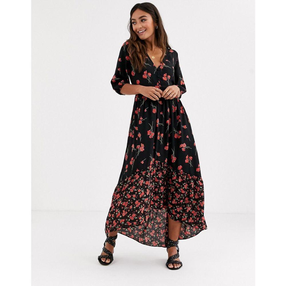ピンキー Pimkie レディース ワンピース ワンピース・ドレス【floral printed midi dress in black】Black