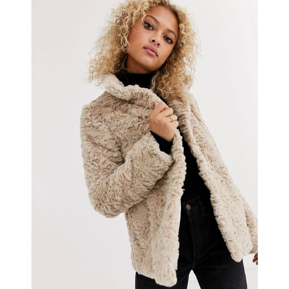 オアシス Oasis レディース コート ファーコート アウター【twisty faux fur coat in beige】Mid neutral