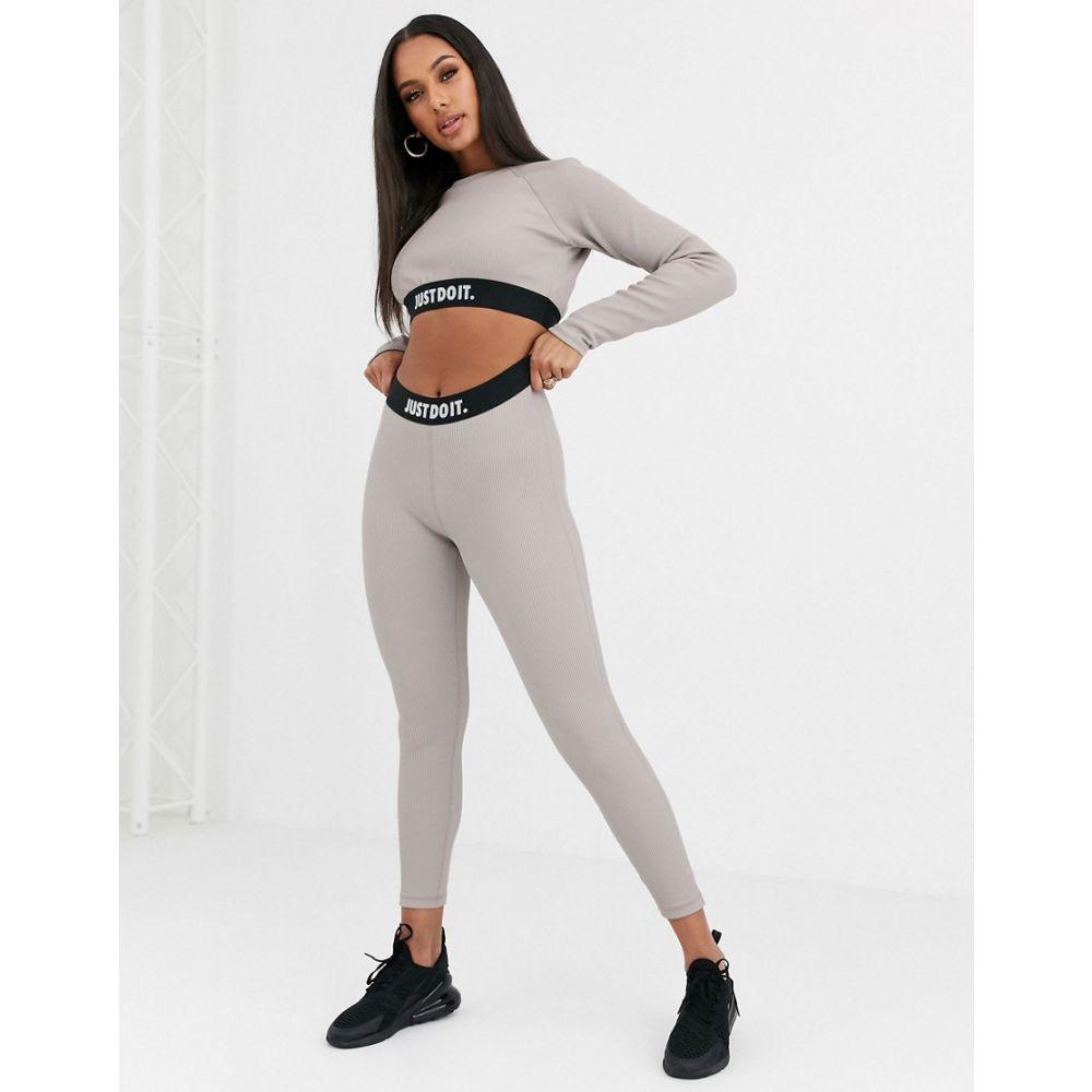 ナイキ Nike レディース スパッツ・レギンス インナー・下着【grey ribbed Just Do It high waisted leggings】Pumice