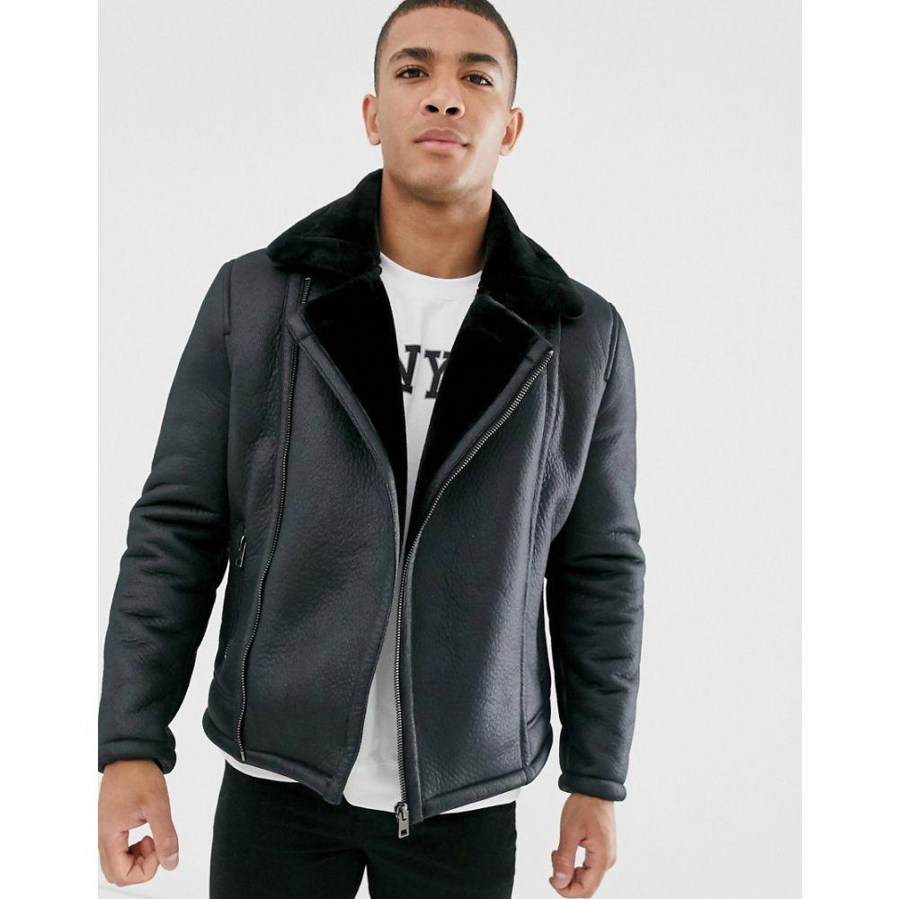 ニュールック New Look メンズ ジャケット アビエイター シアリング アウター【faux shearling aviator in black】Black