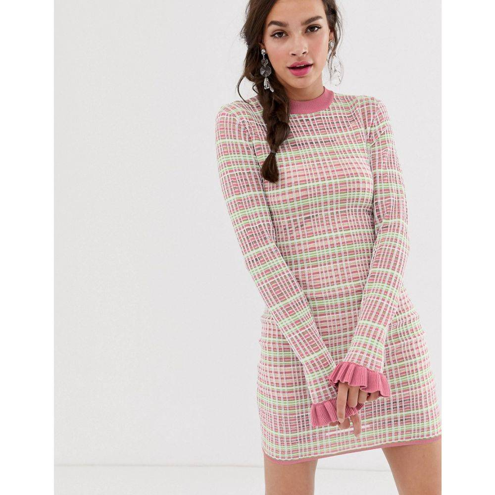 ファインダーズ キーパーズ Finders Keepers レディース ボディコンドレス ミニ丈 ワンピース・ドレス【Luca bodycon mini dress】Pink w green