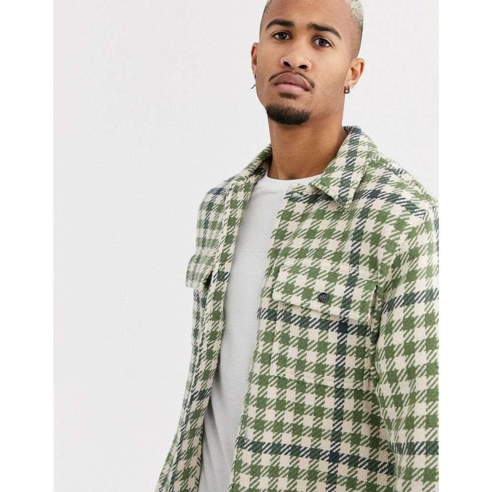 トップマン Topman メンズ シャツ トップス【brushed shirt in gingham check】Green