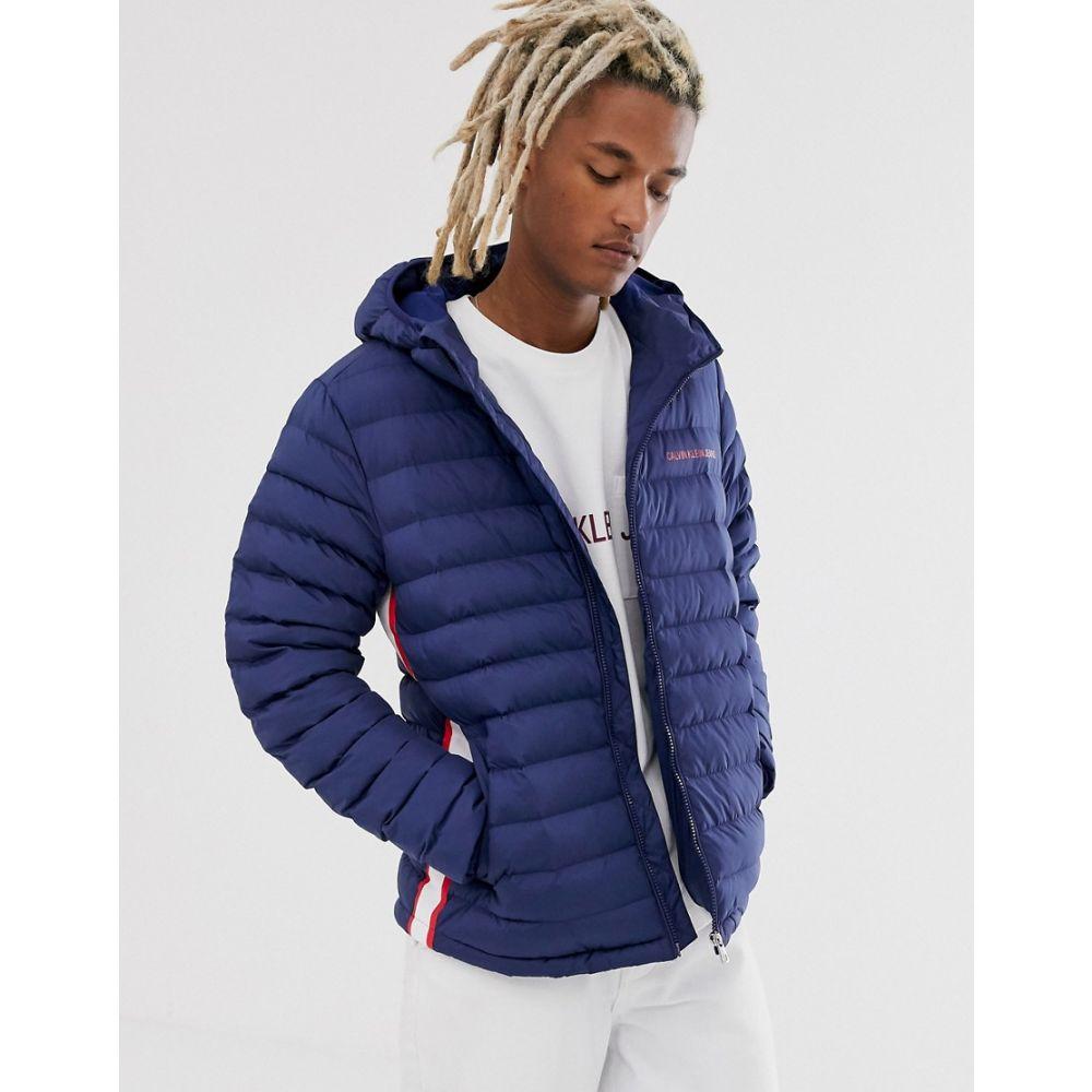 非売品 カルバンクライン logo】Medieval Calvin Klein Jeans メンズ ダウン フード with・中綿ジャケット フード アウター【padded hooded jacket in navy with small logo】Medieval blu:フェルマート, edge home:c48bcc7d --- nagari.or.id