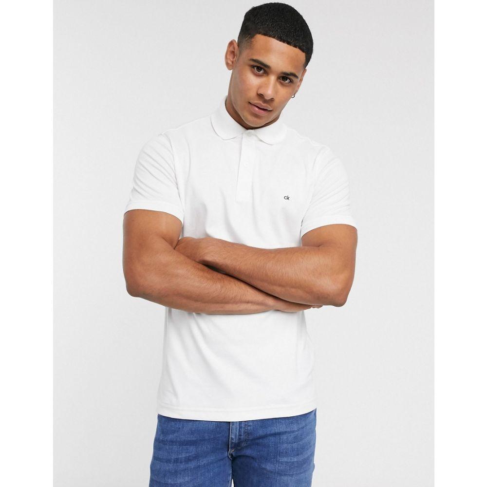 カルバンクライン Calvin Klein メンズ ポロシャツ トップス【chest logo polo shirt】White