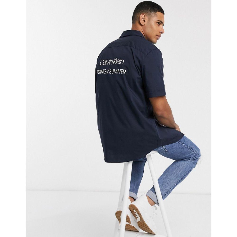 カルバンクライン Calvin Klein メンズ 半袖シャツ トップス【printed logo short sleeve shirt】Navy