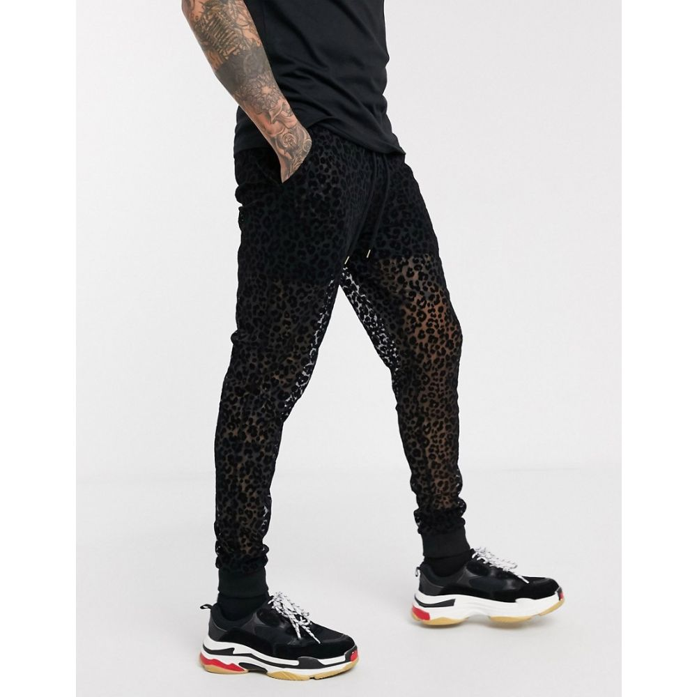 エイソス ASOS DESIGN メンズ ジョガーパンツ ボトムス・パンツ【joggers in mesh with leopard print detail in black】Black