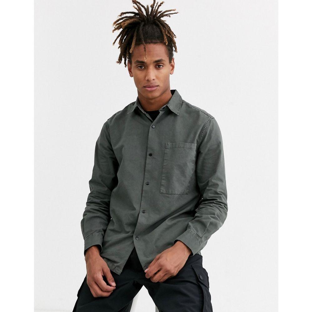 トップマン Topman メンズ シャツ トップス【long sleeve shirt with pocket in khaki】Green