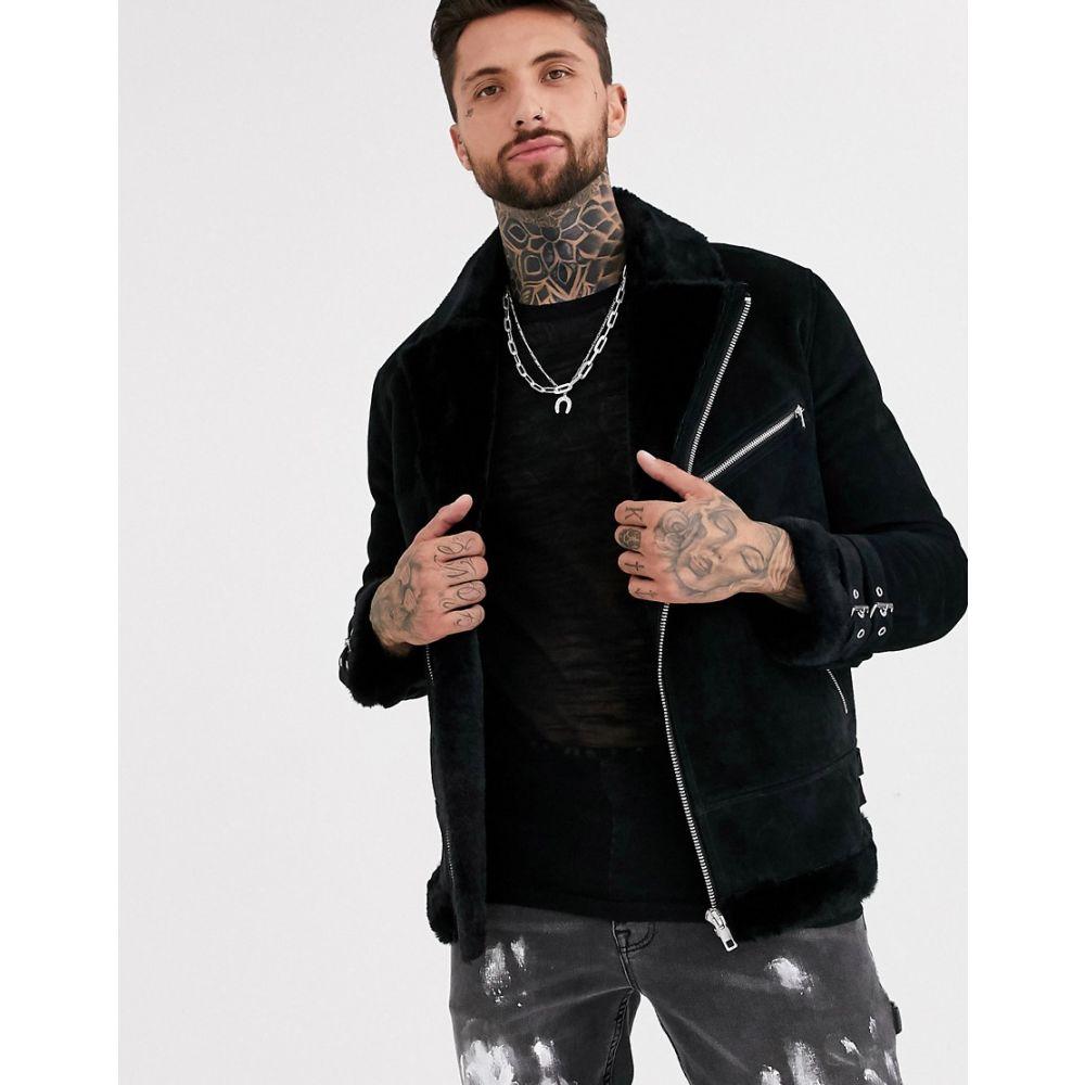 エイソス ASOS DESIGN メンズ レザージャケット アビエイター アウター【suede aviator jacket in black with fur lining】Black