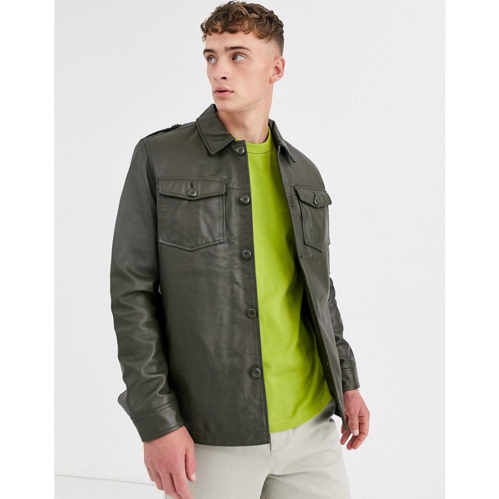 エイソス ASOS DESIGN メンズ アウター オーバーシャツ【leather quilted overshirt in khaki】Khaki