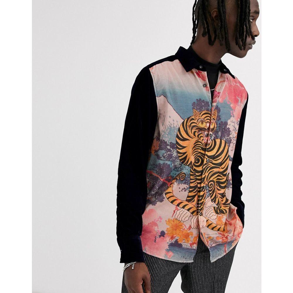 エイソス ASOS DESIGN メンズ シャツ トップス【regular tiger velvet shirt】Navy