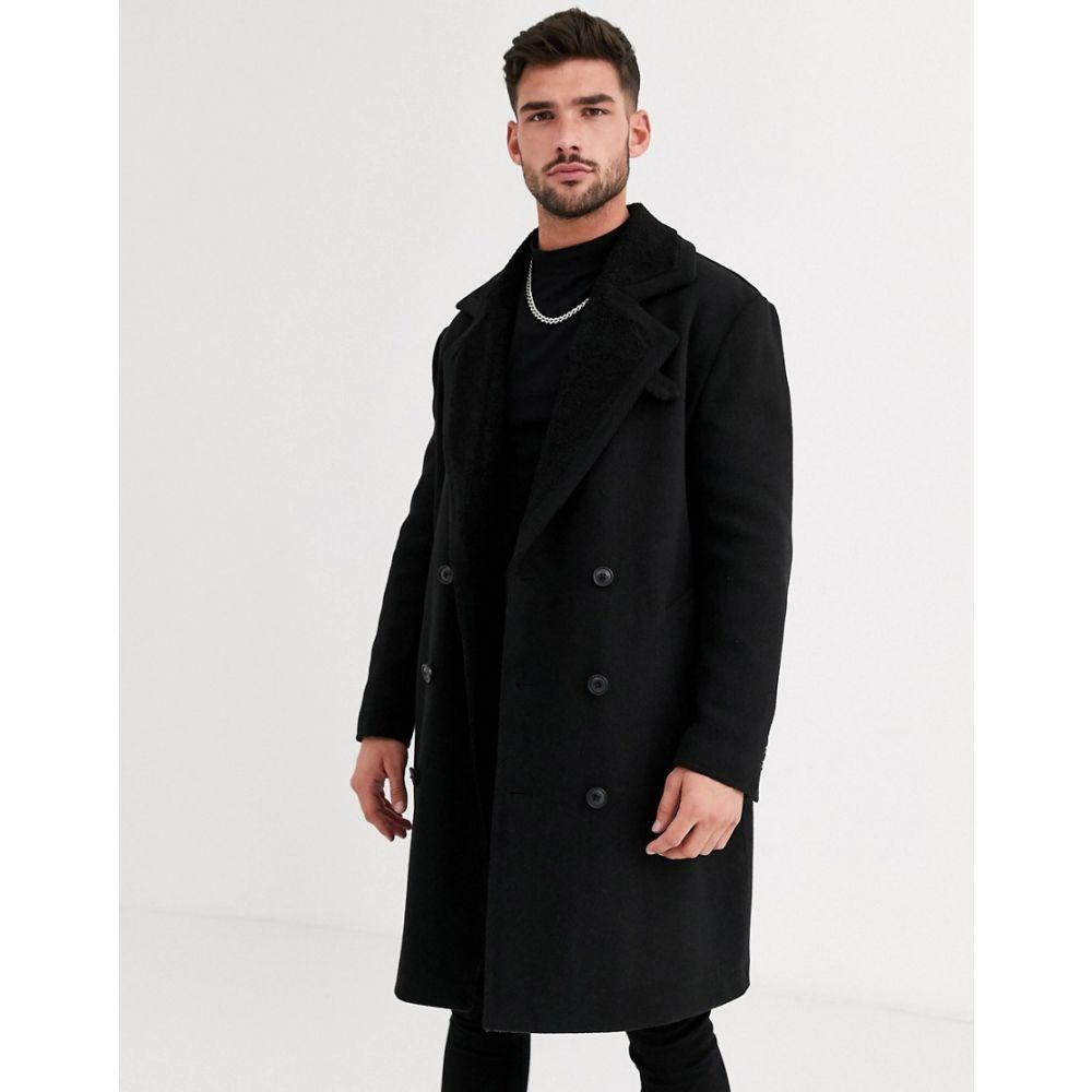 エイソス ASOS DESIGN メンズ コート アウター【wool mix overcoat with quilted lining in black】Black