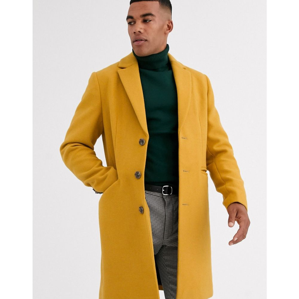 エイソス ASOS DESIGN メンズ コート アウター【wool mix overcoat in yellow】Yellow