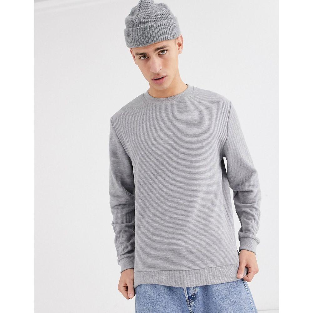 エイソス ASOS DESIGN メンズ スウェット・トレーナー トップス【ribbed sweatshirt in grey marl】Grey marl