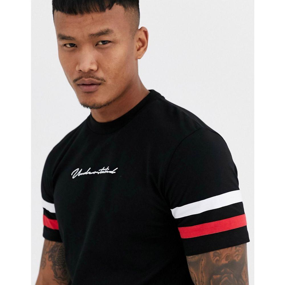 エイソス ASOS DESIGN メンズ Tシャツ トップス【t-shirt with sleeve stripe and chest text print】Black