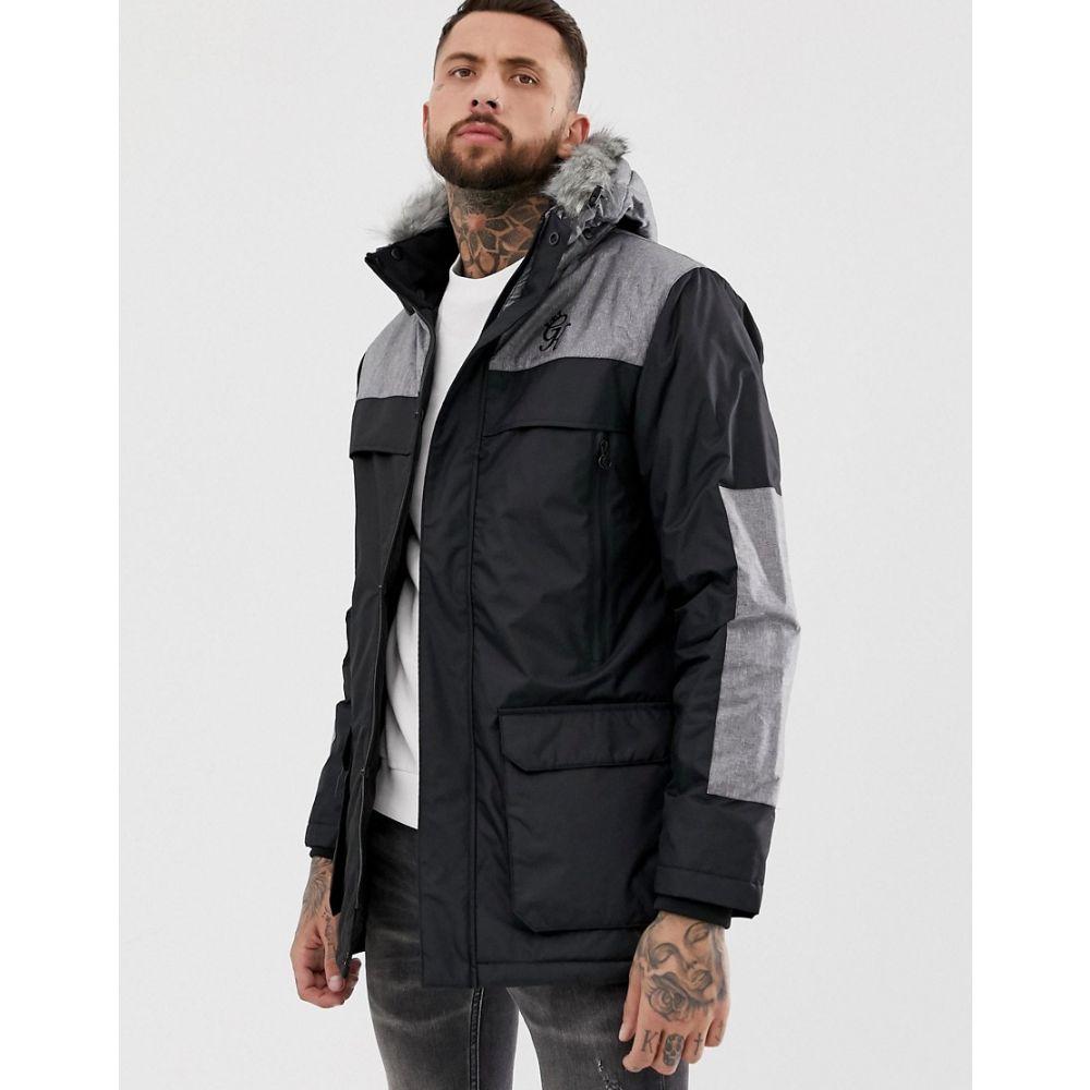 ジムキング Gym King メンズ コート アウター【panelled parka jacket with faux fur trim hood】Black