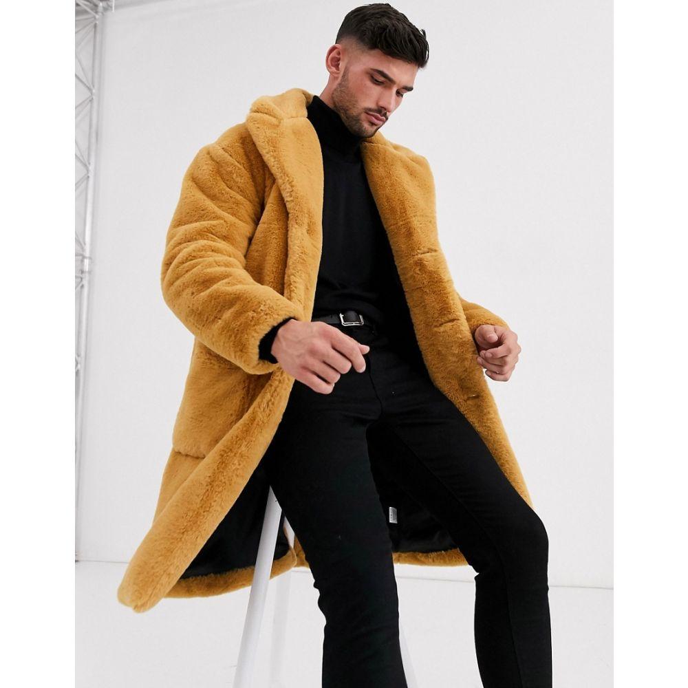 アレイ Aray メンズ コート アウター【faux fur oversized coat】Camel