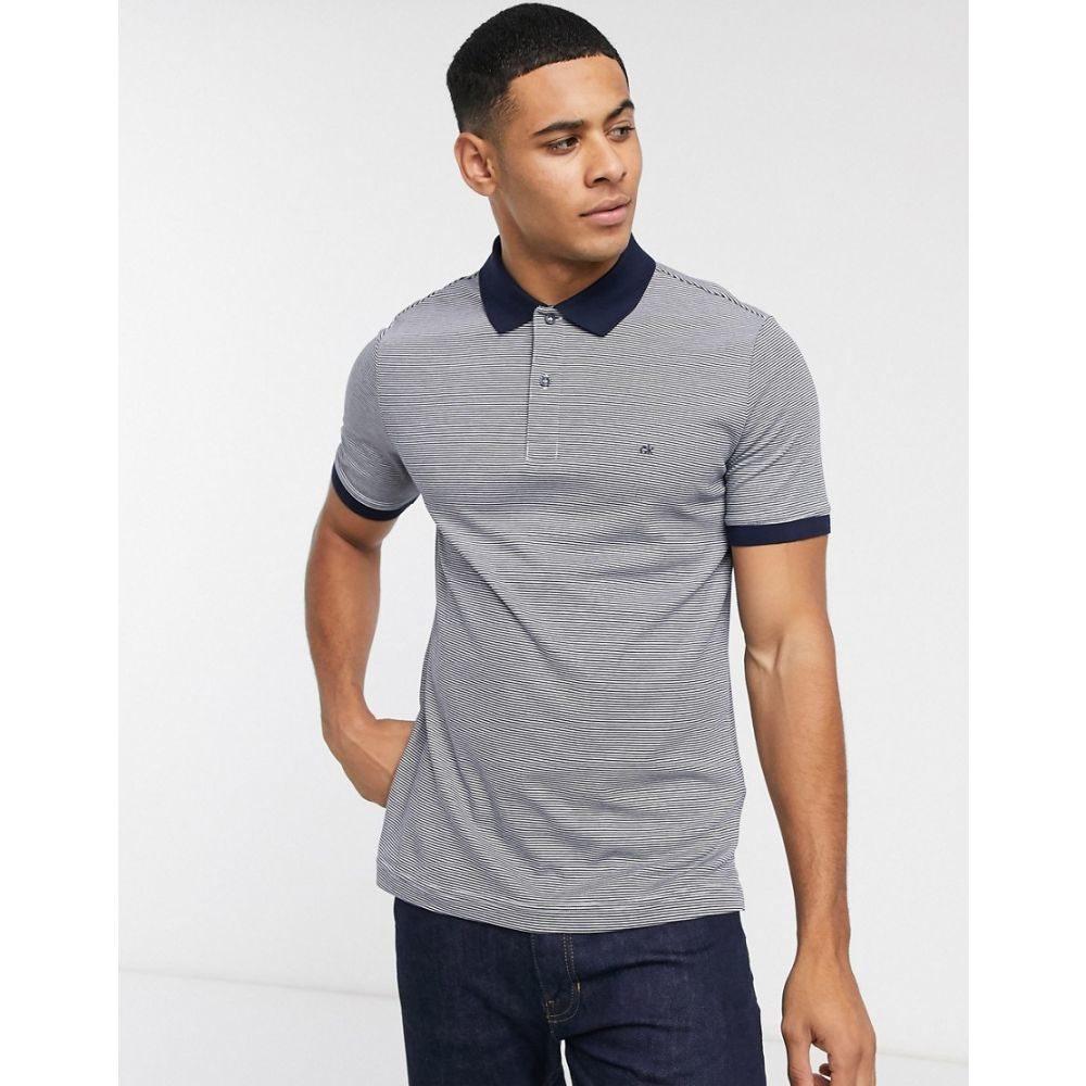 カルバンクライン Calvin Klein メンズ ポロシャツ トップス【stripe polo shirt】Navy