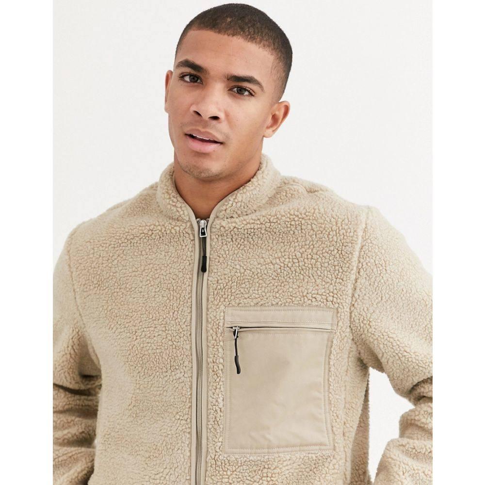 トムテイラー Tom Tailor メンズ ジャケット アウター【teddy jacket with woven pocket in stone】Stone