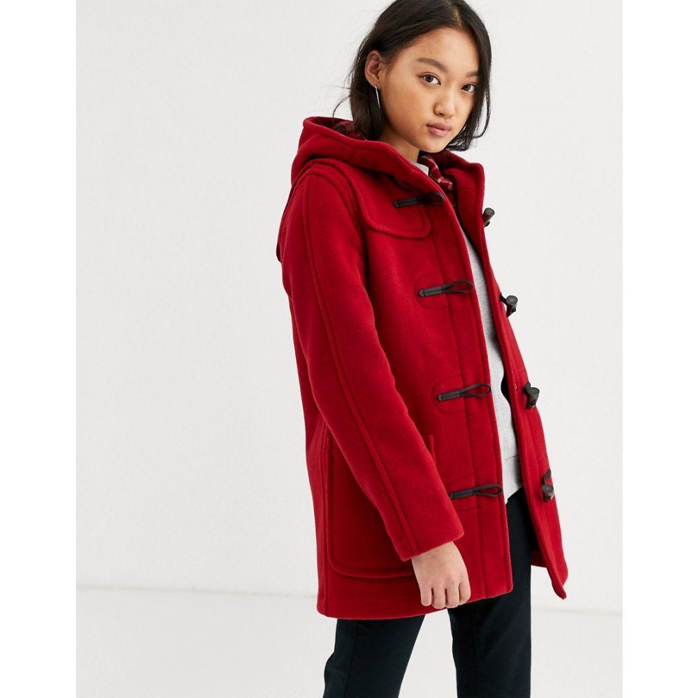 グローバーオール Gloverall レディース コート ダッフルコート アウター【Gloveral mid length duffle coat in wool blend】Cranberry/check in