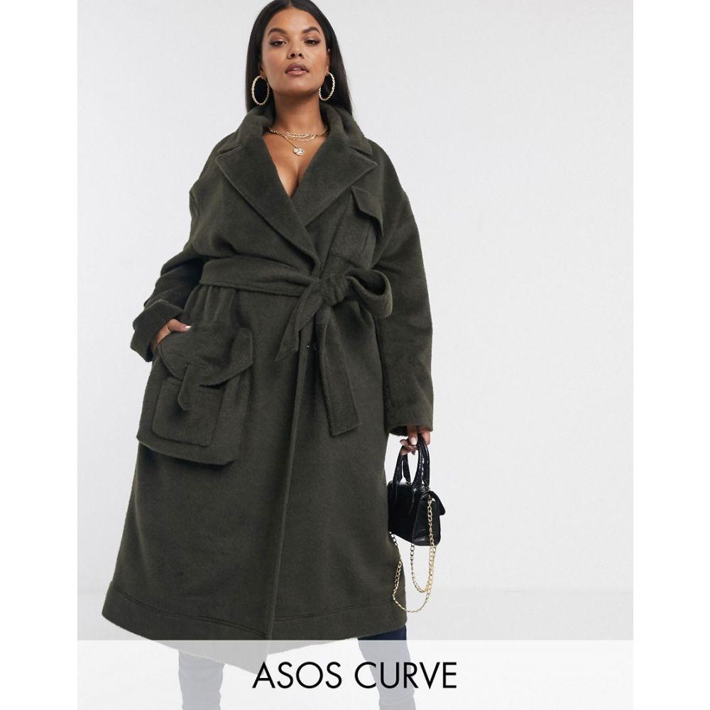 エイソス ASOS Curve レディース コート アウター【ASOS DESIGN Curve brushed utility coat in khaki】Khaki