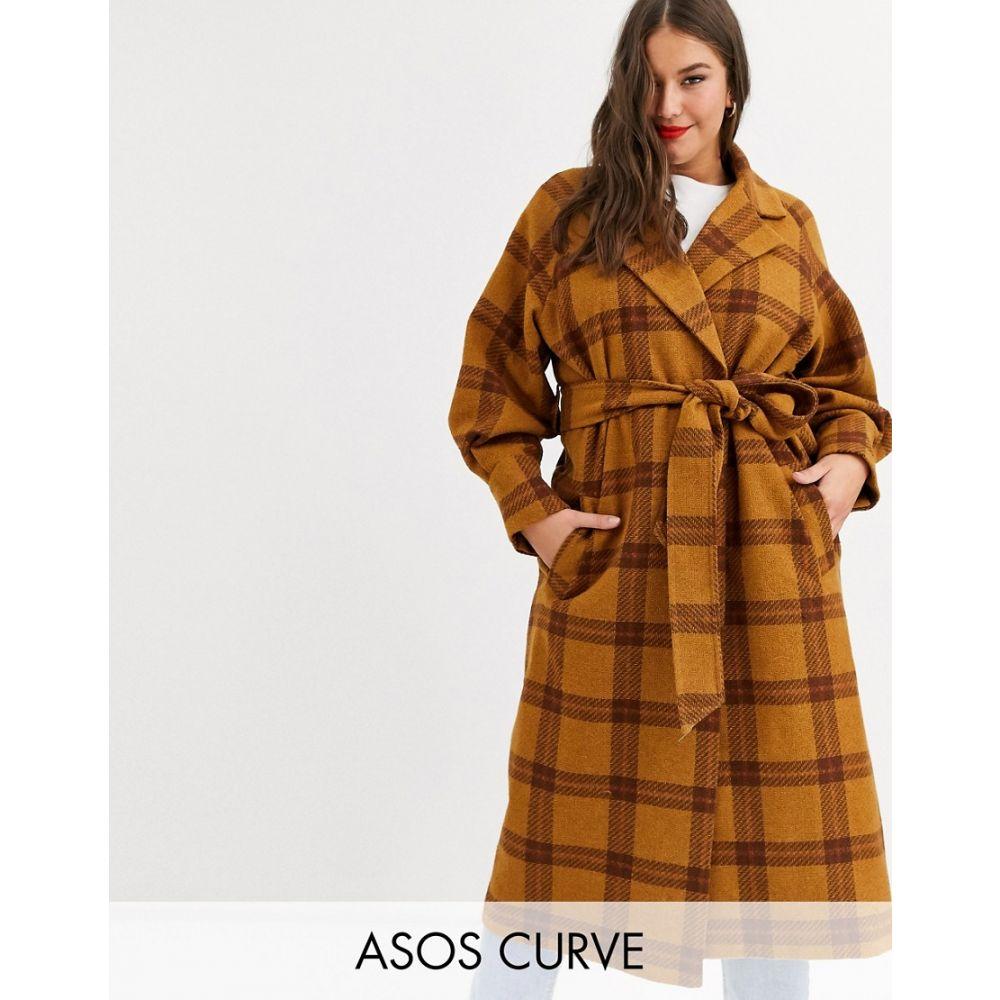 エイソス ASOS Curve レディース コート アウター【ASOS DESIGN Curve balloon sleeve check coat】Check