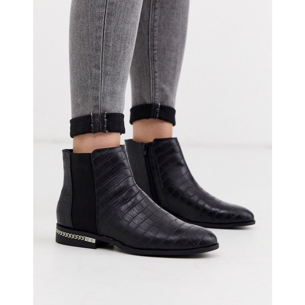 リバーアイランド River Island レディース ブーツ ショートブーツ シューズ・靴【River island flat ankle boot with chain detail in black】Black